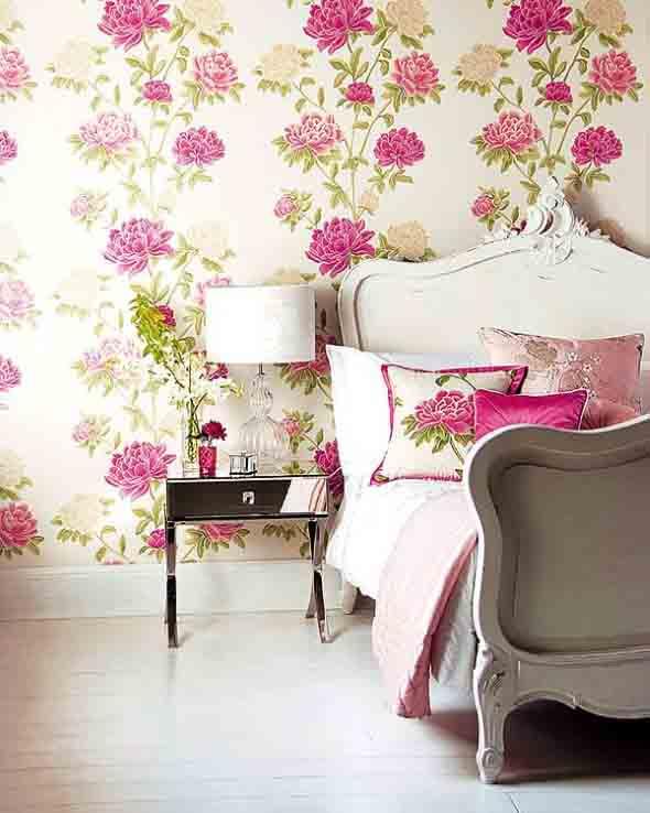 Papel de parede floral na decoração 001