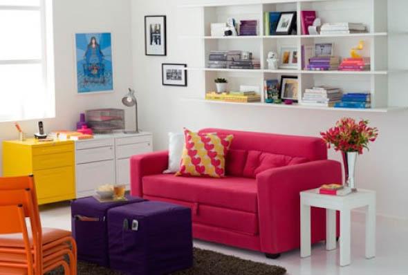 Cômodos com móveis coloridos 019