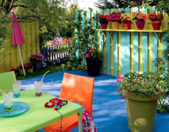 Colorido na varanda e jardim 002