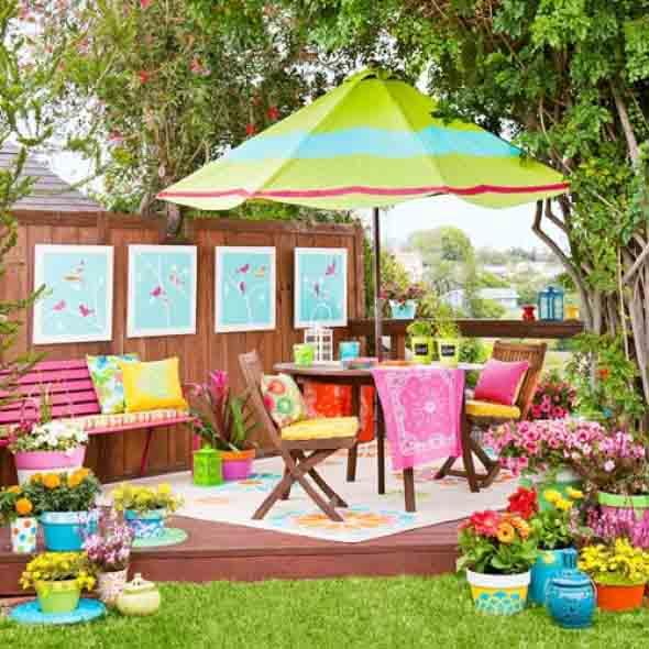 Colorido na varanda e jardim 006