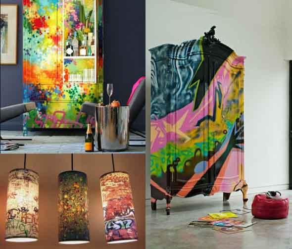 Grafite colorido na decoração 014