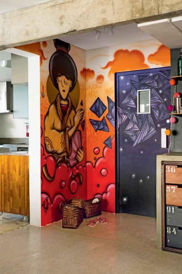 Grafite colorido na decoração 015