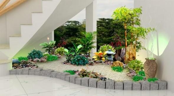 Jardim no vão da escada 018