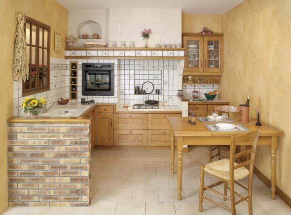 Balcão rústico na cozinha 003