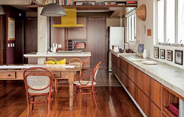 Balcão rústico na cozinha 014