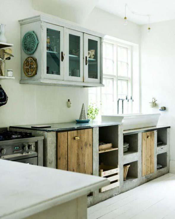 Balcão rústico na cozinha 017