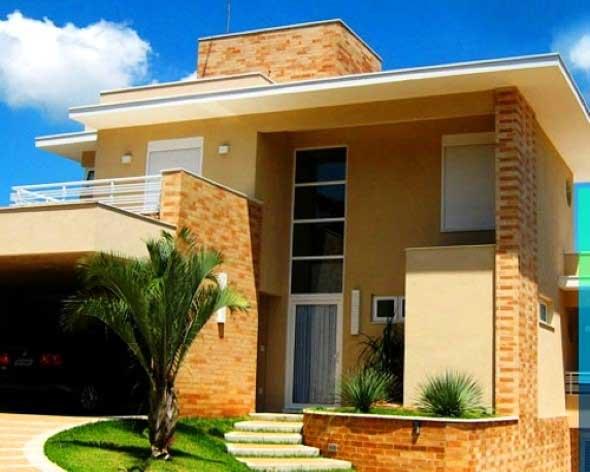 Casas modernas revestidas com tijolos 016