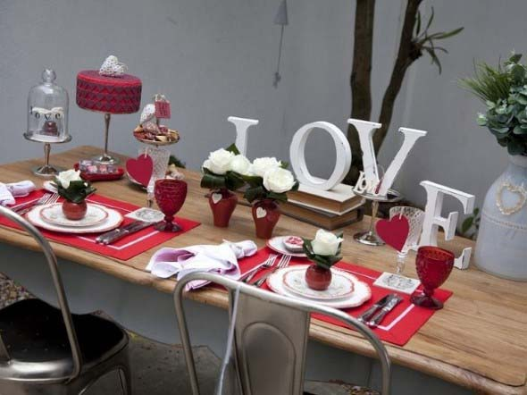 Mesa de jantar decorada Dia dos Namorados 002