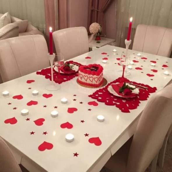 Mesa de jantar decorada Dia dos Namorados 018