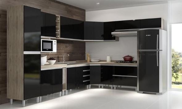 Cozinhas com armários pretos 007