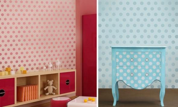 Ideias para decorar as paredes com bolinhas 007