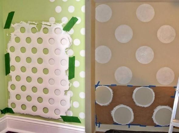 Ideias para decorar as paredes com bolinhas 018