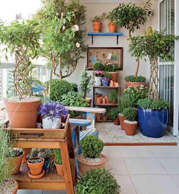 Dicas para usar vasos de flores na varanda -> Decoração De Varanda Com Vasos De Plantas