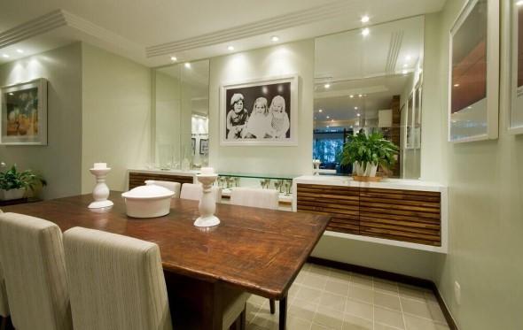 Espelhos na decoração da sala de jantar 004