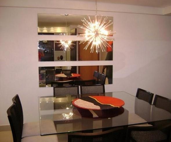 Espelhos na decoração da sala de jantar 009