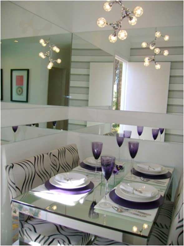 Espelhos na decoração da sala de jantar 013
