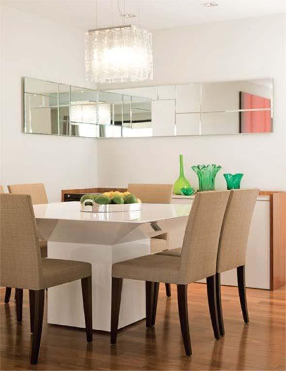 Espelhos na decoração da sala de jantar 014
