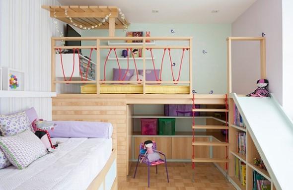 Quarto infantil com tema casa na árvore 001