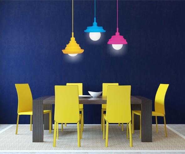 Luminárias e pendentes coloridos na decoração 001