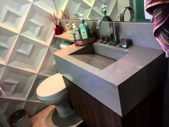 Pia esculpida na decoração do banheiro 016