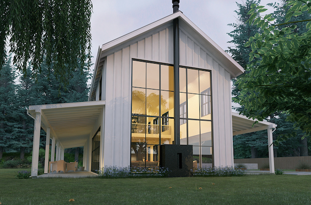 planta casa de campo futurista