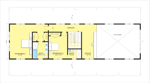 planta do segundo pavimento da casa de campo