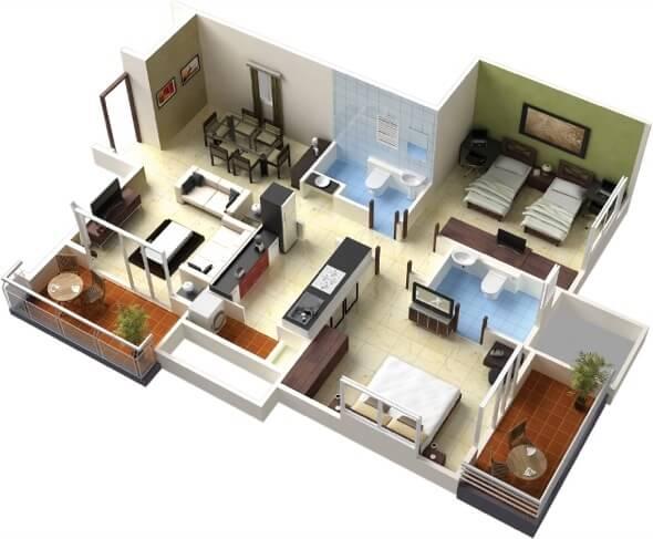 15-plantas de casas 3d modelos