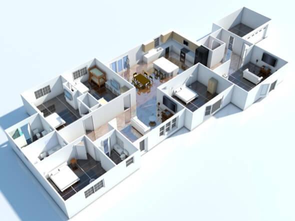 17-plantas de casas 3d modelos