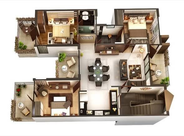 3-plantas de casas 3d modelos