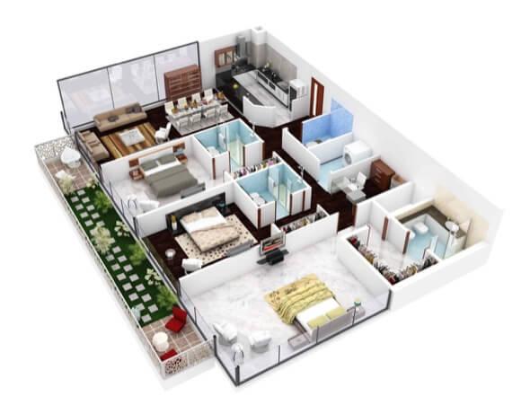 5-plantas de casas 3d modelos
