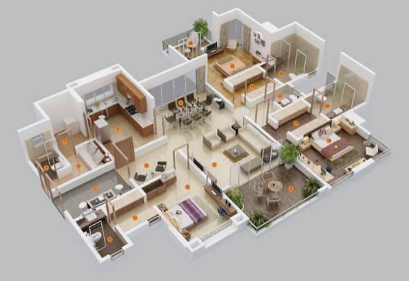 7-plantas de casas 3d modelos