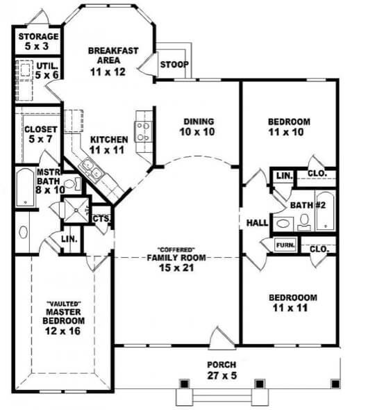 12-plantas de casas 3 quartos modelos