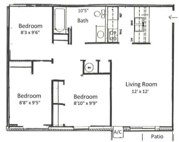 2-plantas de casas 3 quartos modelos