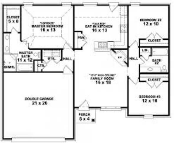 38-plantas de casas 3 quartos modelos