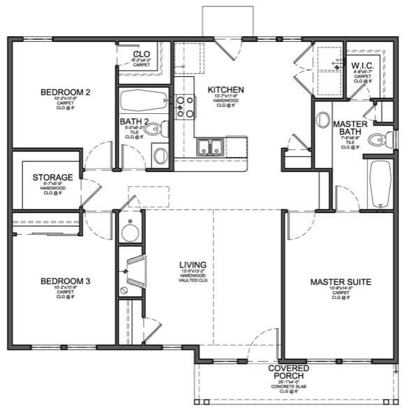 45-plantas de casas 3 quartos modelos