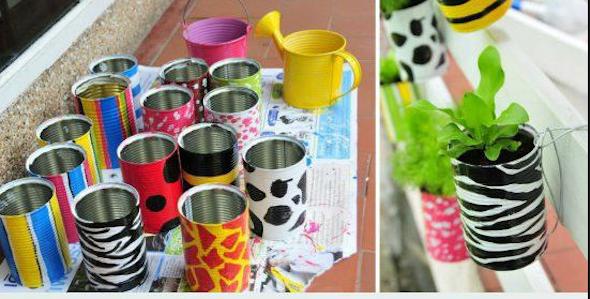 Jardim com latas recicláveis9
