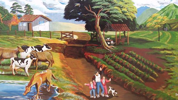 Pintura de fazenda em tecido4