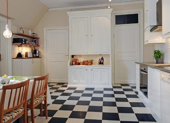 Piso preto e branco em cozinhas11