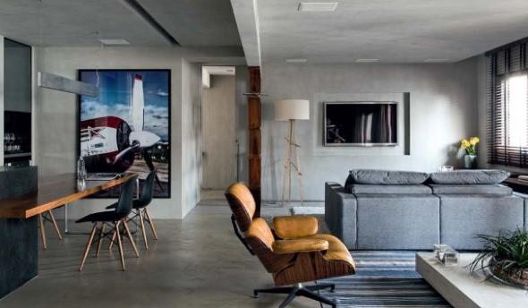 Decoração em concreto aparente em casas e apartamentos-7