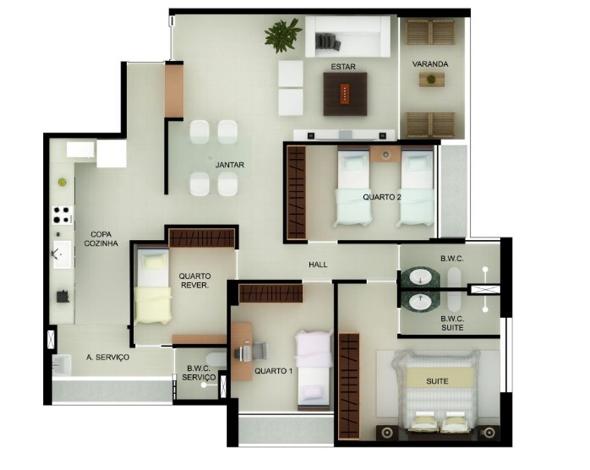 3-Apartamentos com planta livre
