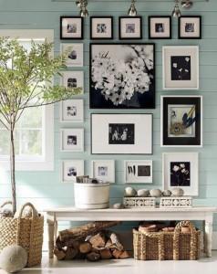 Hall de entrada decorar com quadros e prateleiras 010