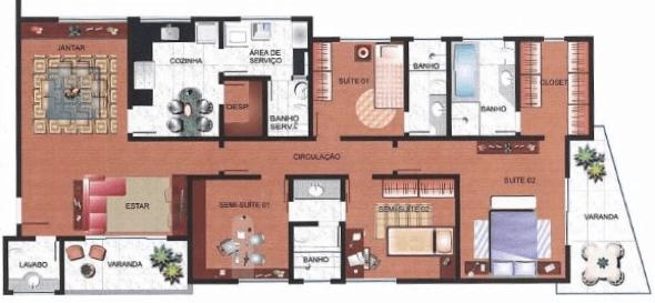1-plantas de casas com 4 quartos