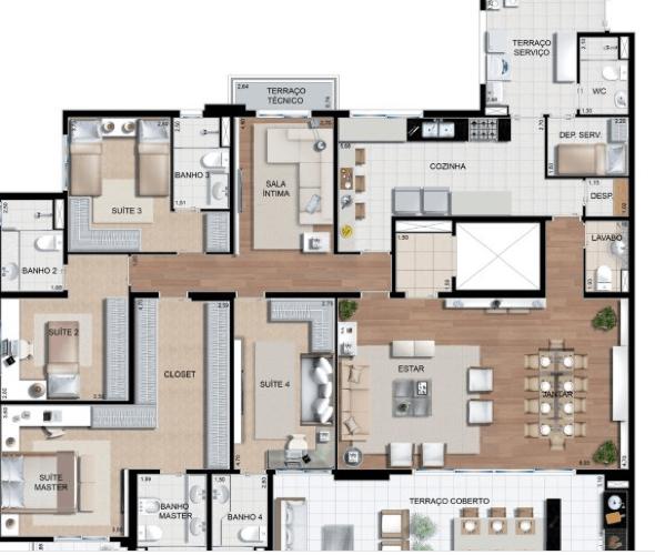 11-plantas de casas com 4 quartos