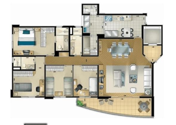 2-plantas de casas com 4 quartos