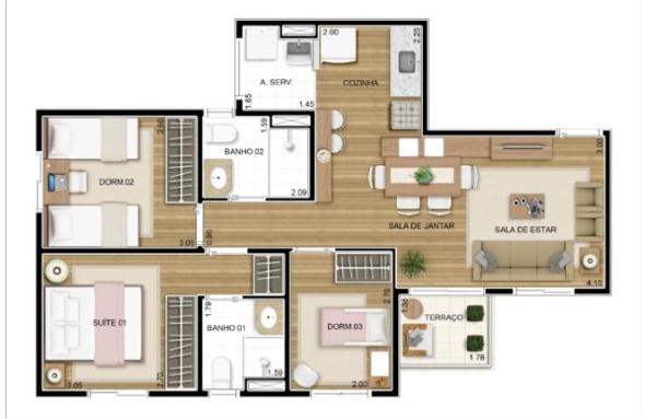 2-plantas de casas com salas grandes