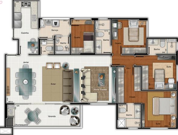 20-plantas de casas com 4 quartos