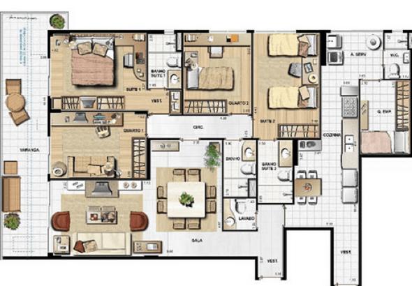 22-plantas de casas com 4 quartos
