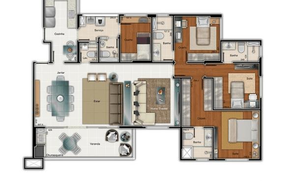 3-plantas de casas com 4 quartos