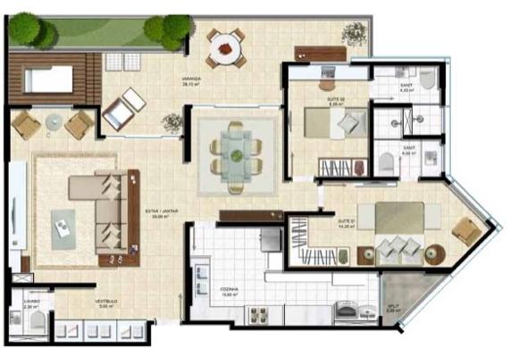 3-plantas de casas com salas grandes