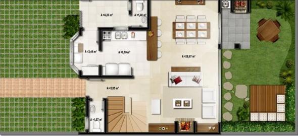 8-plantas de casas com salas grandes